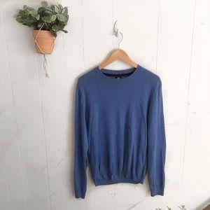 H&M Blue Elbow Padded Crewneck Sweater!